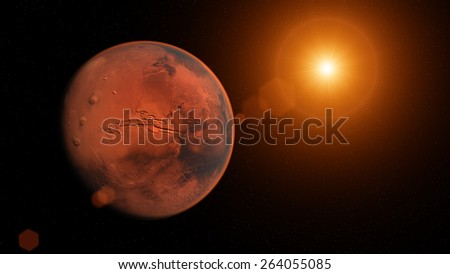 3D Render of the Planet Mars with exploding star. Elements of this image provided by NASA.
