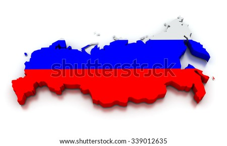 3D render of the Russian map in the colors of its flag.