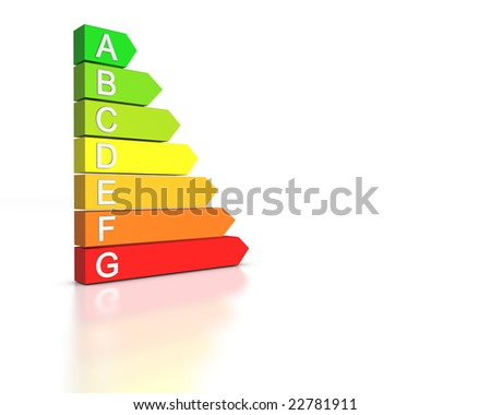 3D render of the seven levels of energetic efficiency. - stock photo
