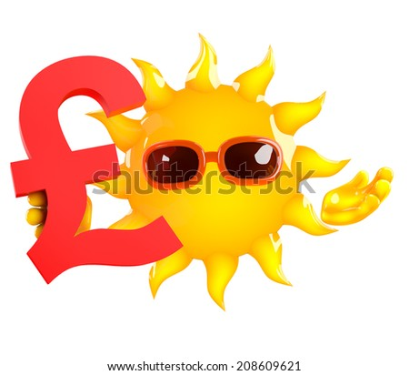 3d render of the sun holding a UK Pounds Sterling currency symbol - stock photo