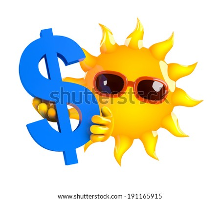3d render of the sun holding the US Dollar symbol - stock photo