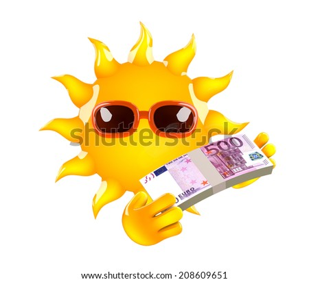 3d render of the sun with Euro bank notes - stock photo