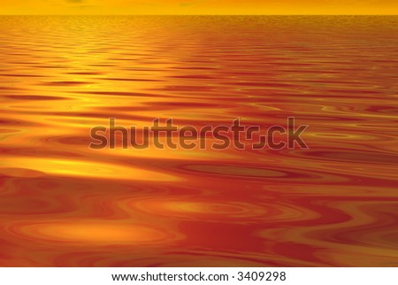 3D-render of the sunset and water