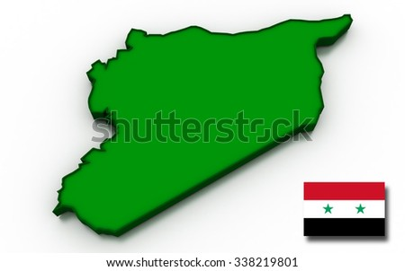3D render of the Syrian map and flag. - stock photo