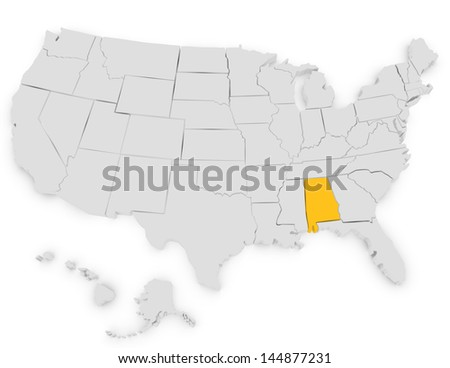 3d Render of the United States Highlighting Alabama