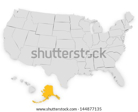 3d Render of the United States Highlighting Alaska