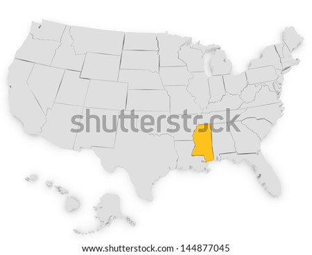 3d Render of the United States Highlighting Mississippi - stock photo