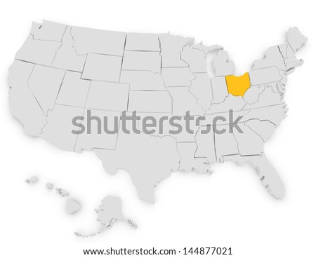 3d Render of the United States Highlighting Ohio - stock photo