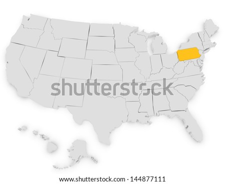 3d Render of the United States Highlighting Pennsylvania - stock photo