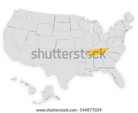 3d Render of the United States Highlighting Tennessee