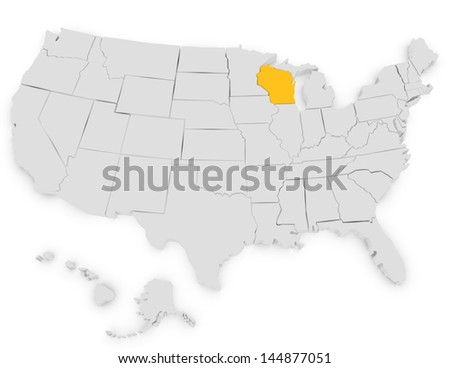 3d Render of the United States Highlighting Wisconsin
