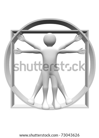 3d render of the vitruvian man. Body proportions study - stock photo