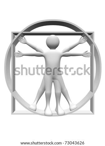 3d render of the vitruvian man. Body proportions study - stock photo