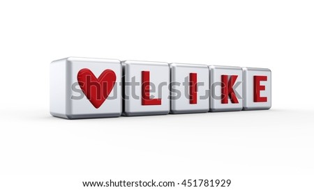 3d Render of the word i love Like