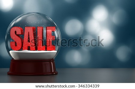 3D render of the word SALE inside an snow globe