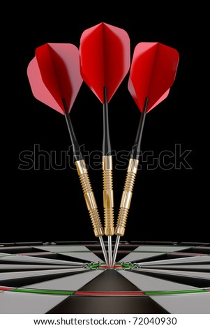 3d render of three red darts on target