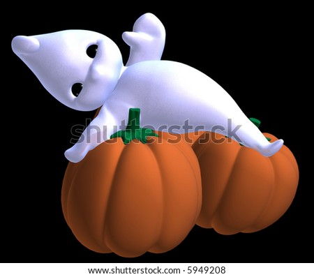 3d render of tiny toon gost resting on halloween pumpkins - stock photo