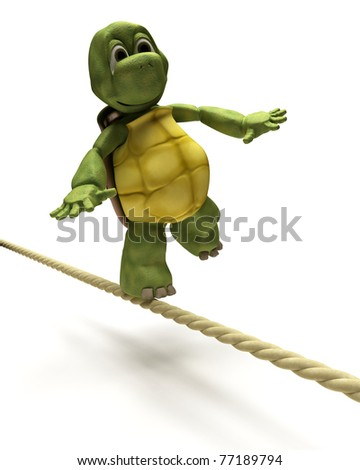 3D Render of Tortoise balancing on a tight rope