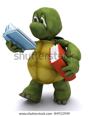 3D Render of Tortoise reading a book