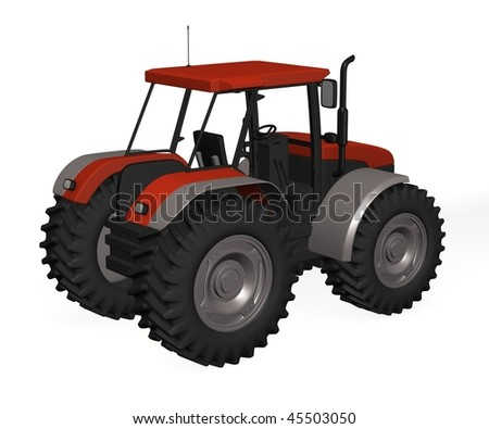 3d render of tractor machine