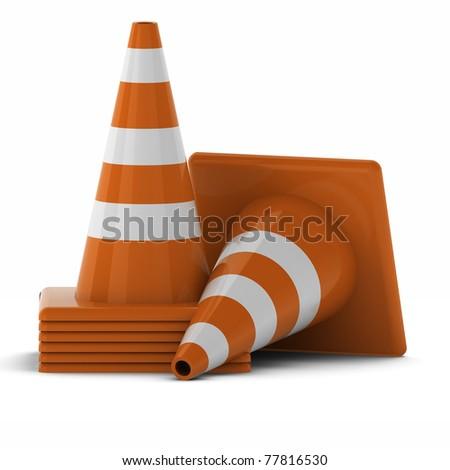 3d render of traffic cones - stock photo