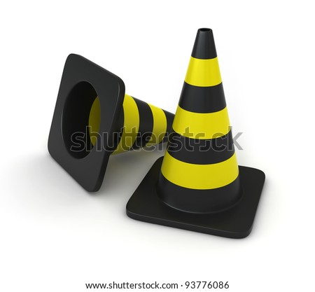 3d render of traffic cones over white background