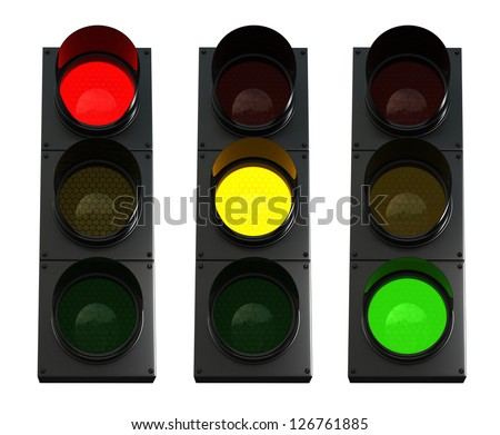 3d render of traffic lights isolated over white background - stock photo