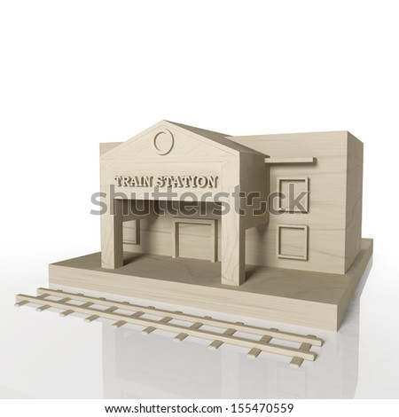 3D render of train station building with reflection,isolated on white - stock photo