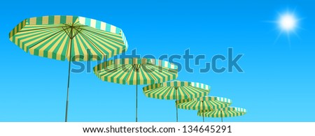 3d render of Tropical beach panorama with umbrellas - stock photo