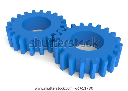 3D render of two inter-meshed blue plastic gears isolated against a white background.
