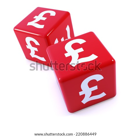 3d render of two red dice marked with the UK Pounds Sterling symbol - stock photo