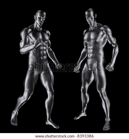 3D render of two silver men with a muscular build. - stock photo