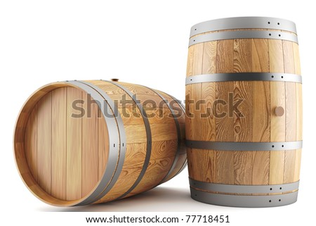 3d render of two wine barrels - stock photo