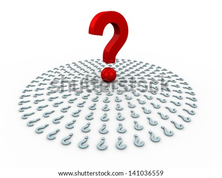 3d render of unique question encircle by other question mark symbols. concept of standing out of crowd. - stock photo