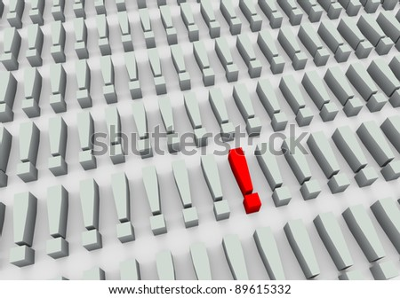 3d render of unique red exclamation mark symbol - stock photo