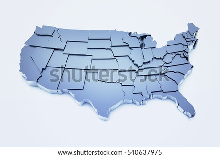 3D render of United States based on public domain map of USA found at: http://smartskies.nasa.gov/stan.html