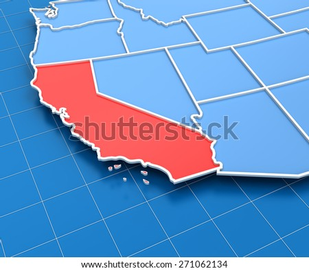 3d Render Of Usa Map With California State Highlighted In Red