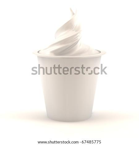 3d render of vanilla yogurt jar isolated over white background - stock photo