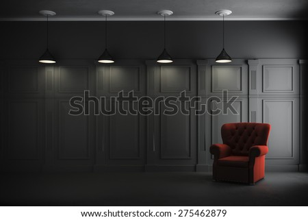 3d render of vintage interior and armchair - stock photo