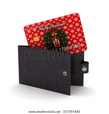 3d render of wallet with debit card. Holiday-Financial concept on white background - stock photo
