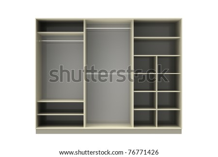 3d render of  wardrobe from three sections on a white background