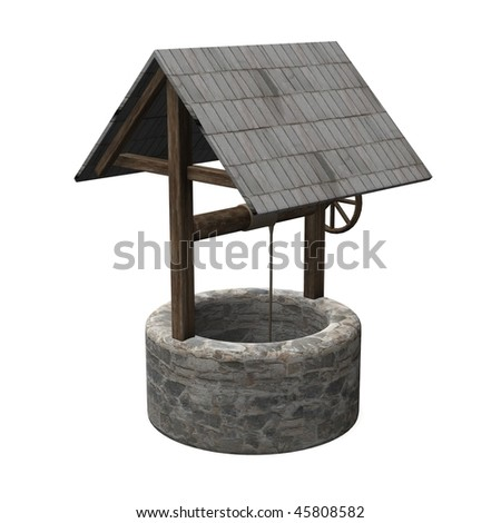 3d render of water well - stock photo