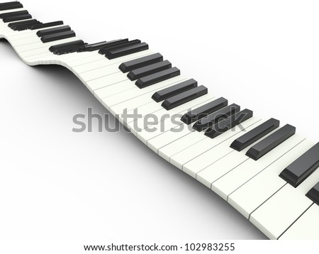 3d render of wavy piano musical keyboard - stock photo