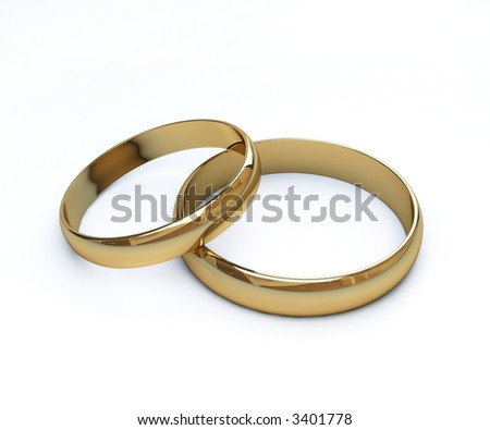 3d render of 2 wedding rings