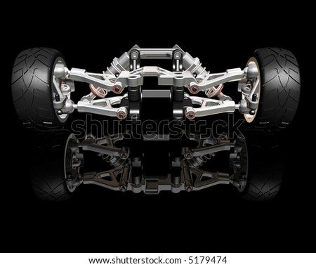3D render of wheels with suspension - stock photo