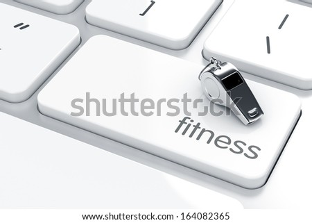 3d render of whistle icon on the keyboard. Health life concept  - stock photo