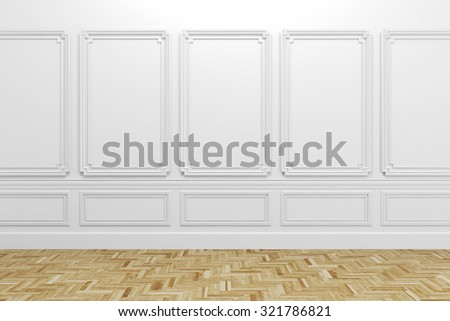 3d render of white classic interior with wooden floor - stock photo