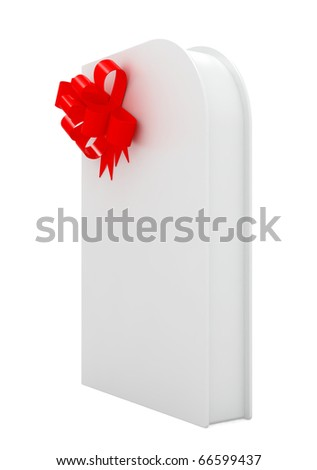 3d render of white design box with red bow on white background - stock photo