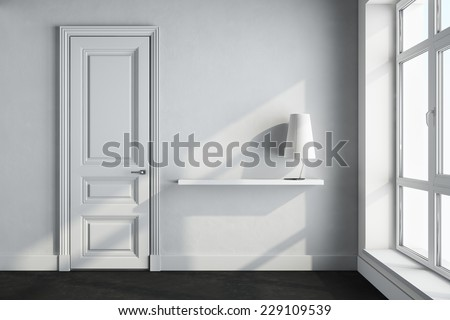 3d render of white empty interior with door - stock photo