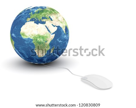 3d render of white glossy computer mouse connected to a globe Earth - stock photo